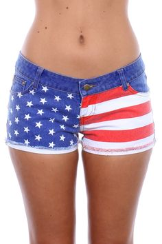 661575994a3d American Flag Jean Shorts  39.95 http   www.tipsyelves.com womens