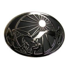 CTM Mens Eagle and Sun Belt Buckle