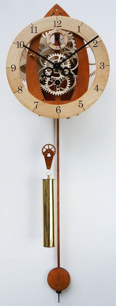 Want this clock!!! Handmade wooden wall clock with pendulum. Weight by TobysClocks, £420.00