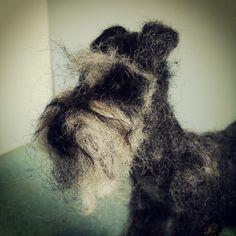Looks like this schnauzer got burnt by the hair dryer lol!             #NeedleFelted Mini Schnauzer by Emma Herian