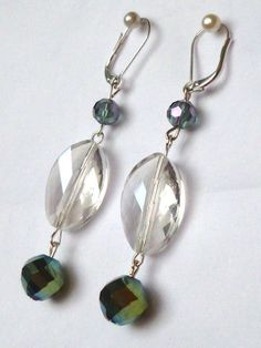 Multi Faceted Crystal Drops Earrings by Margica on Etsy, $28.00