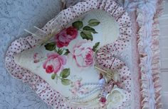 Heart Pillow-pillow,heart,cottage,pink,white,vintage,lace,roses,shabby,chic,ruffle,sheer,handmade,gift,ribbon,key,painted,pearls,paper,