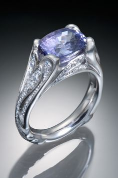 Purple sapphire & diamonds in Palladium - Skylight Jewelers