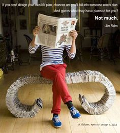 Recycled Newspaper Bench.