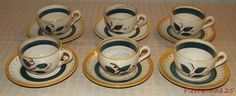 6 Vintage Stangl Terra Rose Fruit Coffee Cups and Saucers / Made in USA  #Stangl