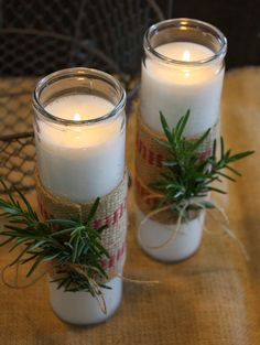This is a super simple way to dress up some dollar store candles for the Holidays. I wrapped mine in burlap and then tied little spri. Christmas Brunch, Christmas Makes, Christmas Time, Christmas Crafts, Merry Christmas, Christmas Ornaments, Christmas Things, Christmas Stocking, Christmas Ideas