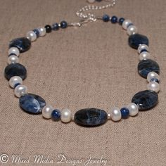 Sodalite & White Freshwater Pearl Sterling by MixedMediaDesigns1, $69.00