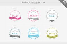 Badges with Floating Ribbons by PixFairyDesign on @creativemarket