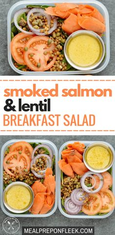 Smoked Salmon & Lentil Breakfast Salad - This simple, no-cook meal is packed full of high-protein, high-fiber lentils, smoked salmon and fresh vegetables. It comes together in less than 5 minutes. Paleo Meal Prep, Lunch Meal Prep, Meal Prep Bowls, Keto Meal, Dinner Meal, Food Prep, Lunch Recipes, Breakfast Recipes, Dinner Recipes