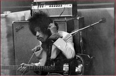 Rare photo of Jimi Hendrix laying down a BASS track at Electric Lady Studios, NYC, circa 1969, using a vintage Right Handed 60s Fender Precision Bass.