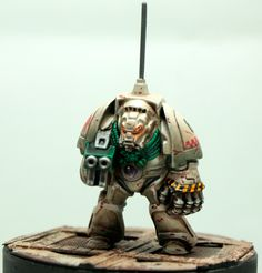 Not only is the model old, a Frenchman painted it. These are the original plastic terminators that came with Space Hulk.