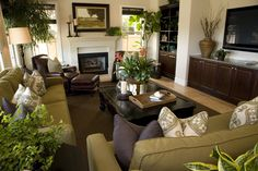 Richly designed living room in dark brown, green and white color scheme. Room is filled with plants adding more to the green color scheme.