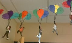 "They wrote their hopes and dreams in balloons and attached a picture of themselves soaring with them. Make ""Oh the Places You Go"" Bulletin Board! End of school year Classroom Fun, Classroom Displays, Future Classroom, Classroom Activities, Classroom Organization, Classroom Management, Reading Activities, Hanging Classroom Decorations, Hot Air Balloon Classroom Theme"