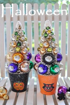 Holiday Sparkle  Halloween bottle brush trees