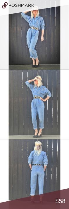 "Vintage Denim Jumpsuit The perfect slightly acid wash, studded denim jumpsuit there ever was!  Super comfy and can be worn multiple ways!  Model is 5'3 bust 30"" waist 25"" hips 32""  Approximate Measurements: taken flat 22.5"" as close to armpit to armpit as possible since it's batwing ;) 12"" waist UNSTRETCHED 56"" total length from top to bottom 27"" inseam almost 13"" rise 22"" sleeves  Great vintage condition. Pants Jumpsuits & Rompers"