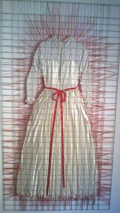 "Inge Stahl ~ ""Yes, I do"" dress, cotton yarn, glass, metal fence"