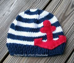 Knit NAUTICAL ANCHOR Baby Hat,  Baby Beanie, Anchor Hat, Marine hat, Red Anchor, Red, white and blue, Childrens hats, boy hats, girl hats