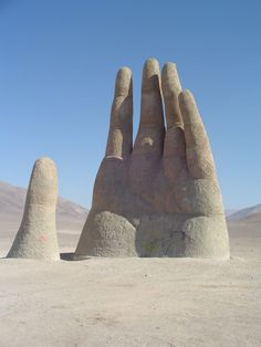 "The ""Mano de Desierto"", or ""Hand of the Desert"", or ""Mano del Desierto"" is a large-scale sculpture of a hand located in the Atacama Desert in Chile, 75 km to the south of the city of Antofagasta, on the Panamerican Highway."