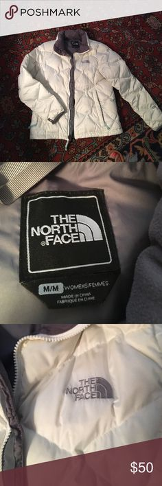 The North Face Aconcagua Jacket size M The North Face Aconcagua white jacket with gray lining. Plush gray plush around the inside of the collar. Very good condition. One small faint brown line on the back bottom of the jacket that can hardly be seen unless up close. Size M. I take very good care of my clothes and this is a competitive price! The North Face Jackets & Coats Puffers