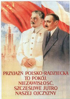 """Propaganda poster illustrating the Russian-Polish """"friendship"""" Poland People, Socialist State, Communist Propaganda, I Will Remember You, Warsaw Pact, Political Posters, Good Old Times, Old Advertisements, Vintage Graphic Design"""
