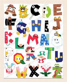 Splitcoaststampers FOOGallery - Alphabet Wall Art - Super Mario Bros. ABCs