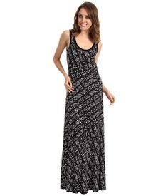Calvin Klein Tweed Stripe Bias Cut Maxi Dress Black/True White Multi - 6pm.com