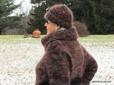 Handknit Chic Multicolor Cowl Neck Mohair Sweater by WhiteHillRose, $190.00