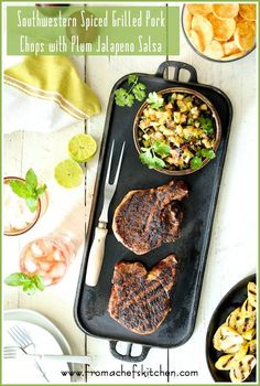 Southwestern Spiced Grilled Pork Chops with Plum Jalapeno Salsa + Summer Entertaining with FarewayMeatMarket.com, Popchips and Southern Breeze #SummerEatsBBoxx #Ad @sbreezetea via @chefcarolb