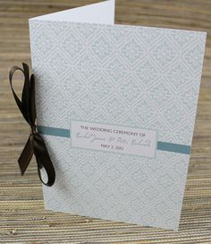 Damask Wedding Program Booklet Template | Damasks, Diy wedding ...