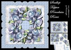 Scallop Topper Porcelain Roses on Craftsuprint designed by Marijke Kok - Gorgeous scallop topper with porcelain roses in lovely bleu color.3 sheets. Insert included. - Now available for download!