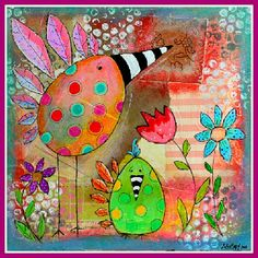 Art Original Mixed Media Bird and Flower Painting on Etsy - canvas) ArtbyAlisaSteady Mixed Media Collage, Mixed Media Canvas, Collage Art, Canvas Collage, Altered Canvas, Altered Art, Wal Art, Mix Media, Funky Art