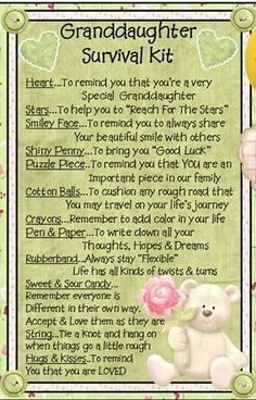 Granddaughter Survival Kit - Show your granddaughter you care while also providing a bit of laughter at the same time. Our survival kits come in a bag topped off with a matching topper. Grandma Quotes, Daughter Quotes, Survival Kit Gifts, Survival Supplies, Survival Gear, Survival Backpack, Survival Hacks, Urban Survival, 365 Jar