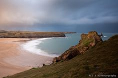 Bosherston Beach from the Pembrokeshire Costal Path at sunset