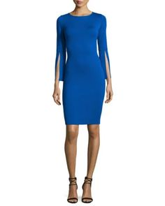 Milano Knit Split-Sleeve Dress, Blue