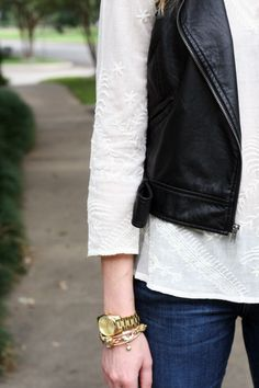 with white lace top from lucky Black Leather Vest, Leather And Lace, Cute Fashion, Fashion Outfits, Denim Fashion, Cool Outfits, Casual Outfits, Fashion Jackson, Fashion Killa