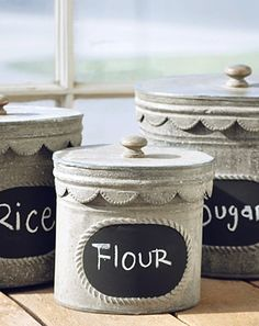 Trio Tin Chalkboard Canisters