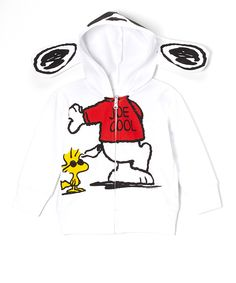 White Snoopy Character Zip-Up Hoodie