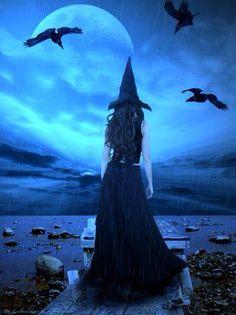 witch in rain