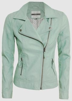 Long Sleeves Mint Leather Jacket