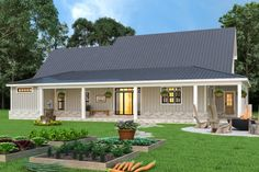 Looking for barndominium ideas? Then you have to check out this new modern farmhouse exterior. It gives you Southern style with a big front porch and a gable roof. Questions? Call 1-800-447-0027 today. #architect #architecture #buildingdesign #homedesign #residence #homesweethome #dreamhome #newhome #newhouse #foreverhome #interiors #archdaily #modern #farmhouse #house #lifestyle #designer Family House Plans, Best House Plans, Large Kitchen Design, Modern Farmhouse Plans, Country Farmhouse, Farmhouse Small, Farmhouse Decor, Modern Sliding Doors, The Ranch