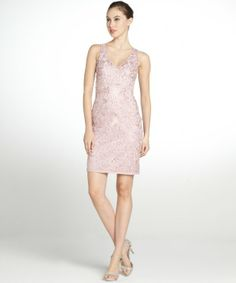 Sue Wong orchid pink lace floral v-neck dress