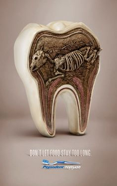 """adv / """"Don't let food stay too long. Pepsodent Torsion."""" Advertising Agency: Lowe, Jakarta, Indonesia"""