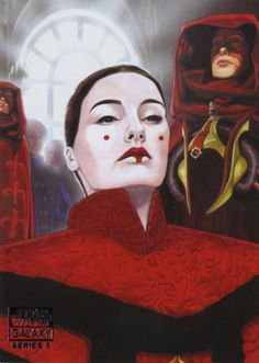 Galaxy 5 trading card by Randy Martinez, depicting the coronation of the newly elected Queen Amidala of Naboo Star Wars Art, Star Trek, Star Wars Padme, Galactic Republic, The Phantom Menace, Star Wars Humor, Clone Wars, Sculptures, Geek Stuff