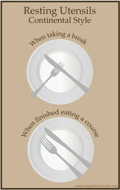 How do you leave your knife and fork on your plate when taking a break or are fi. - How do you leave your knife and fork on your plate when taking a break or are finished eating? Check you this resting utensil etiquette diagram! Dinning Etiquette, Table Setting Etiquette, Table Settings, Comment Dresser Une Table, Good Manners, Good Table Manners, Etiquette And Manners, Knife And Fork, Little Bit