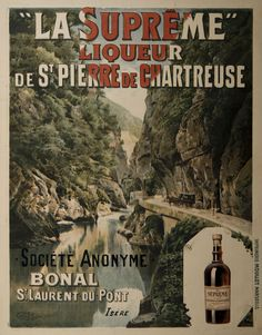 Située dans le massif de la #Chartreuse, Saint-Laurent-du-Pont est dans le département de l'Isère, en région Auvergne-Rhône-Alpes. A 1h30 de #Lyon en voiture, c'est dans cette région que des moines ont mis au point la #recette d'une #liqueur verte composées de nombreuses #plantes et dont la fabrication reste confidentielle. La liqueur de la Grande Chartreuse fut conçue dès 1737 par le père Jérôme Maubec, #apothicaire du monastère #publicité #numelyo #affiche #boisson #CulturePub