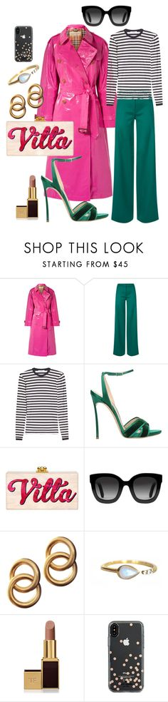 """My pink coat"" by kariver ❤ liked on Polyvore featuring Burberry, La Perla, MaxMara, Casadei, Gucci, Laura Lombardi, La Kaiser, Tom Ford and Kate Spade"