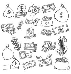 Money doodle set vector by balakobo - Image - VectorStock Tattoo Design Drawings, Doodle Drawings, Tattoo Sketches, Easy Drawings, Doodle Art, Art Sketches, Tattoo Designs, Graffiti Lettering, Graffiti Art