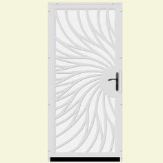 unique home designs 36 in x 80 in solstice white surface mount steel security door with white perforated screen and bronze hardware - Unique Home Designs Security Door