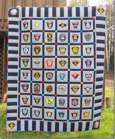 Police patch quilt - Quilting and Life. Have to remember this for firefighter too!