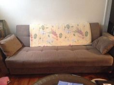 Soft grey microsuede upholstery in perfect condition, no pets have ever lived here. Mattress and couch are both very comfy and armrests can be detached to make this into a free standing mattress,...